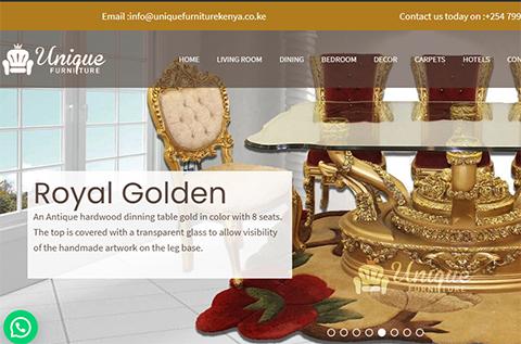 unique furniture ecommerce web design thumbnail display